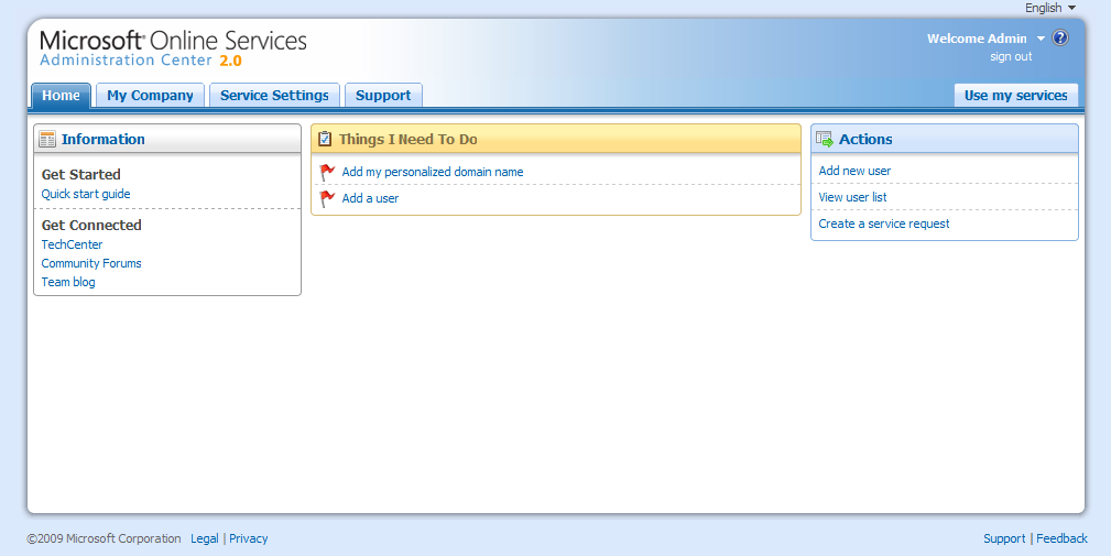 Microsoft Online Services Admin Homepage
