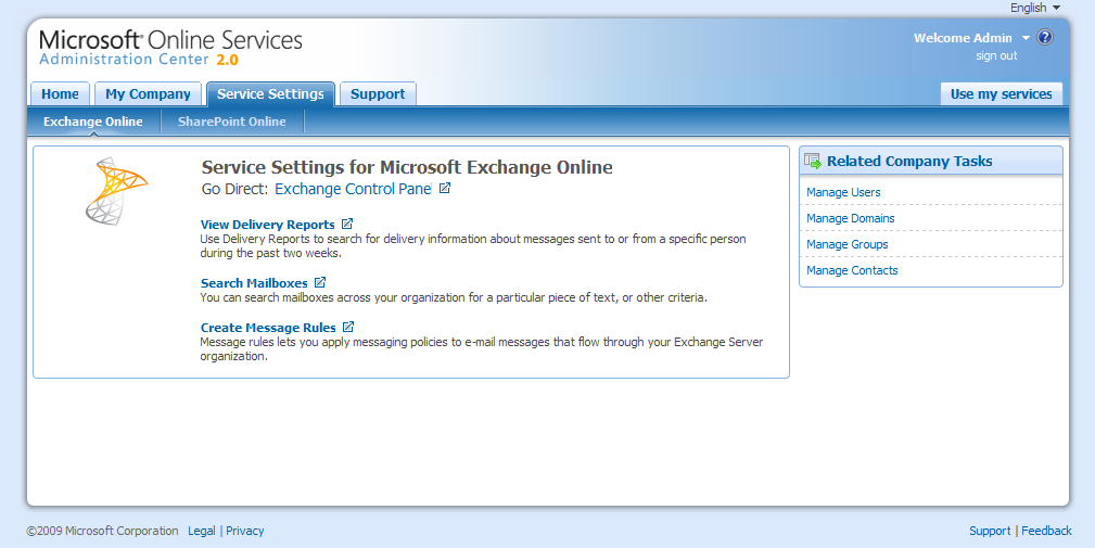 Microsoft Online Services Service Settings - Microsoft Exchange Online