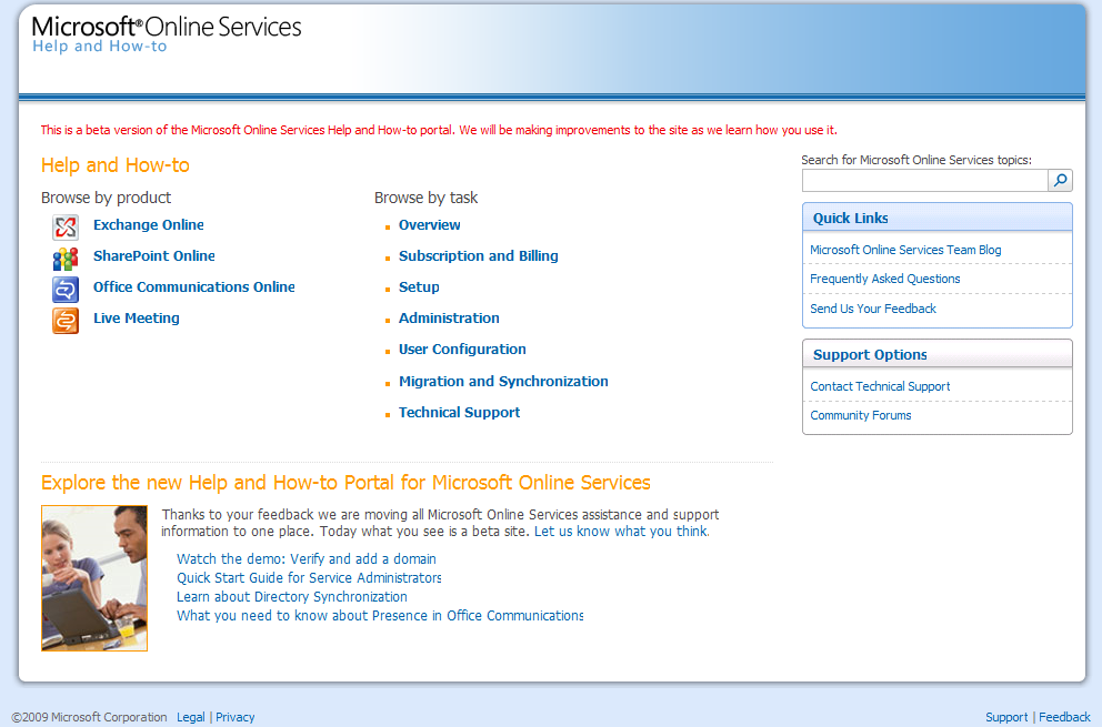 Microsoft Online Services Help Homepage