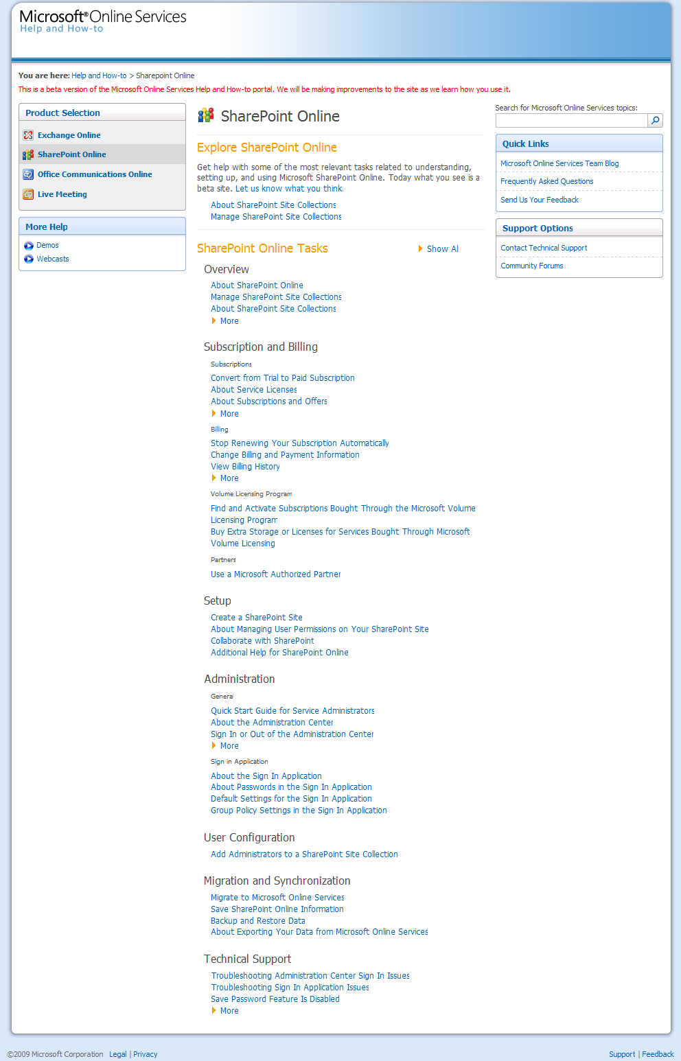 Microsoft Online Services Help for SharePoint Online