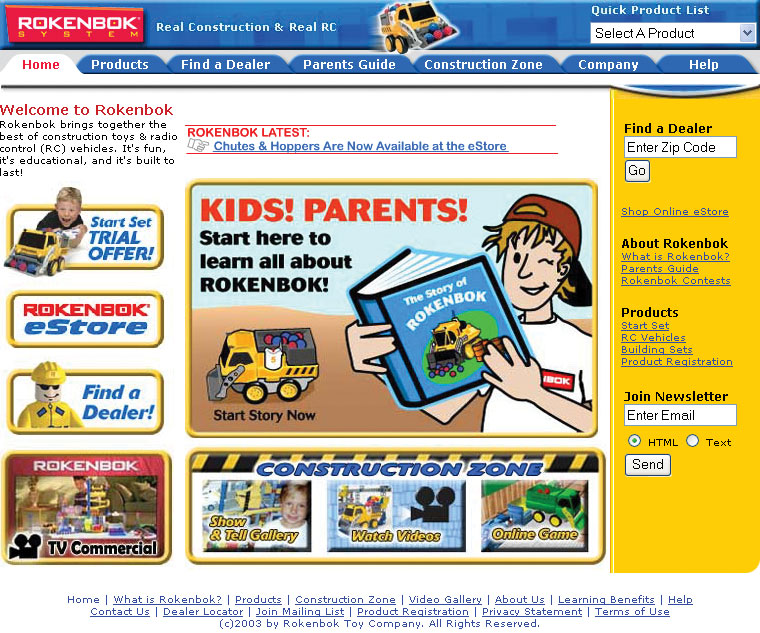 Rokenbok.com homepage design